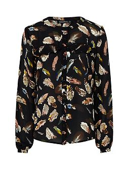 Aurora Feather Print Frill Shirt