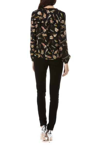 Sugarhill Boutique Aurora Feather Print Frill Shirt