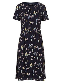 Maya Bright Birdie Fit And Flare Dress