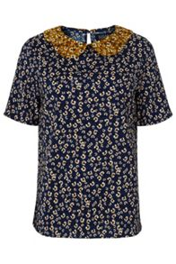 Sugarhill Boutique Hazel Ditsy Print Double Collar Top