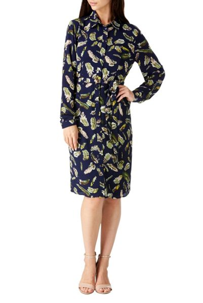Sugarhill Boutique Evelina Feather Below Knee Shirt Dress