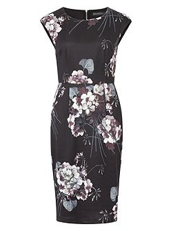 Lori Greyscale Floral Shift Dress