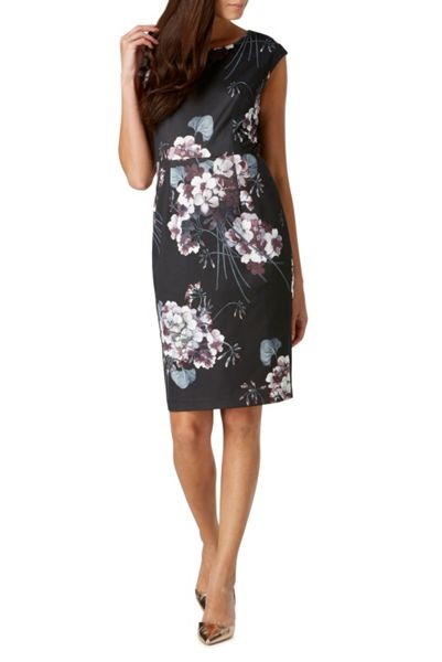 Sugarhill Boutique Lori Greyscale Floral Shift Dress