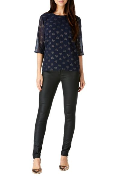Sugarhill Boutique Alley Gold Heart Dot Top