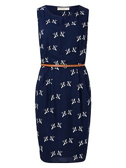 PORTIA GRAPHIC BIRD SHIFT DRESS