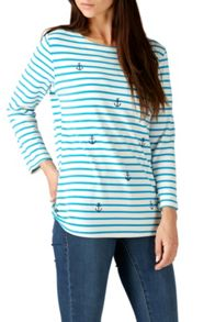 Sugarhill Boutique BRIGHTON ANCHORS EMBROIDERED TOP
