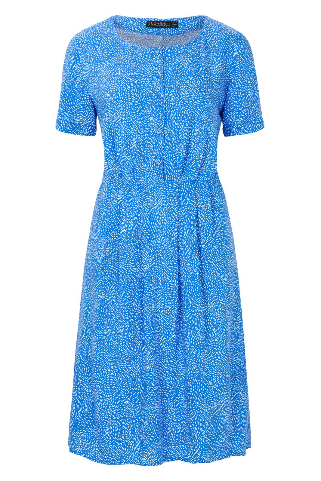 Sugarhill Boutique Litzy Swirling Dots Button Up Dress, Blue