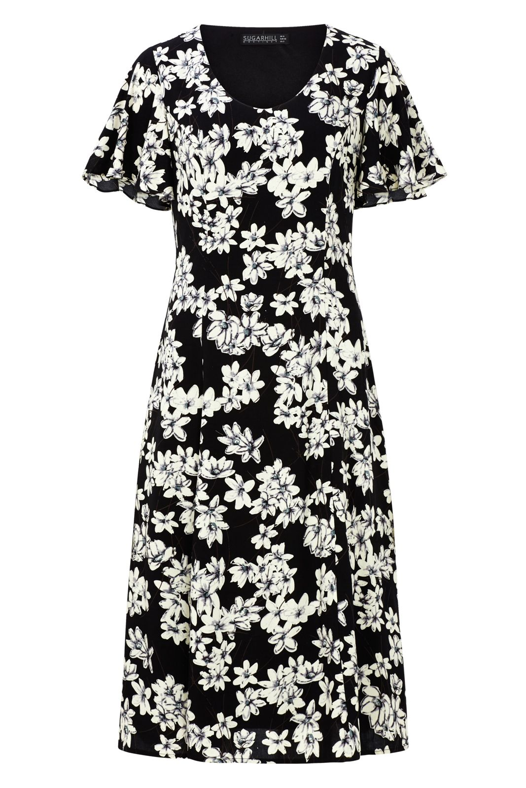 Sugarhill Boutique Rebekka Floral Midi Dress, Black