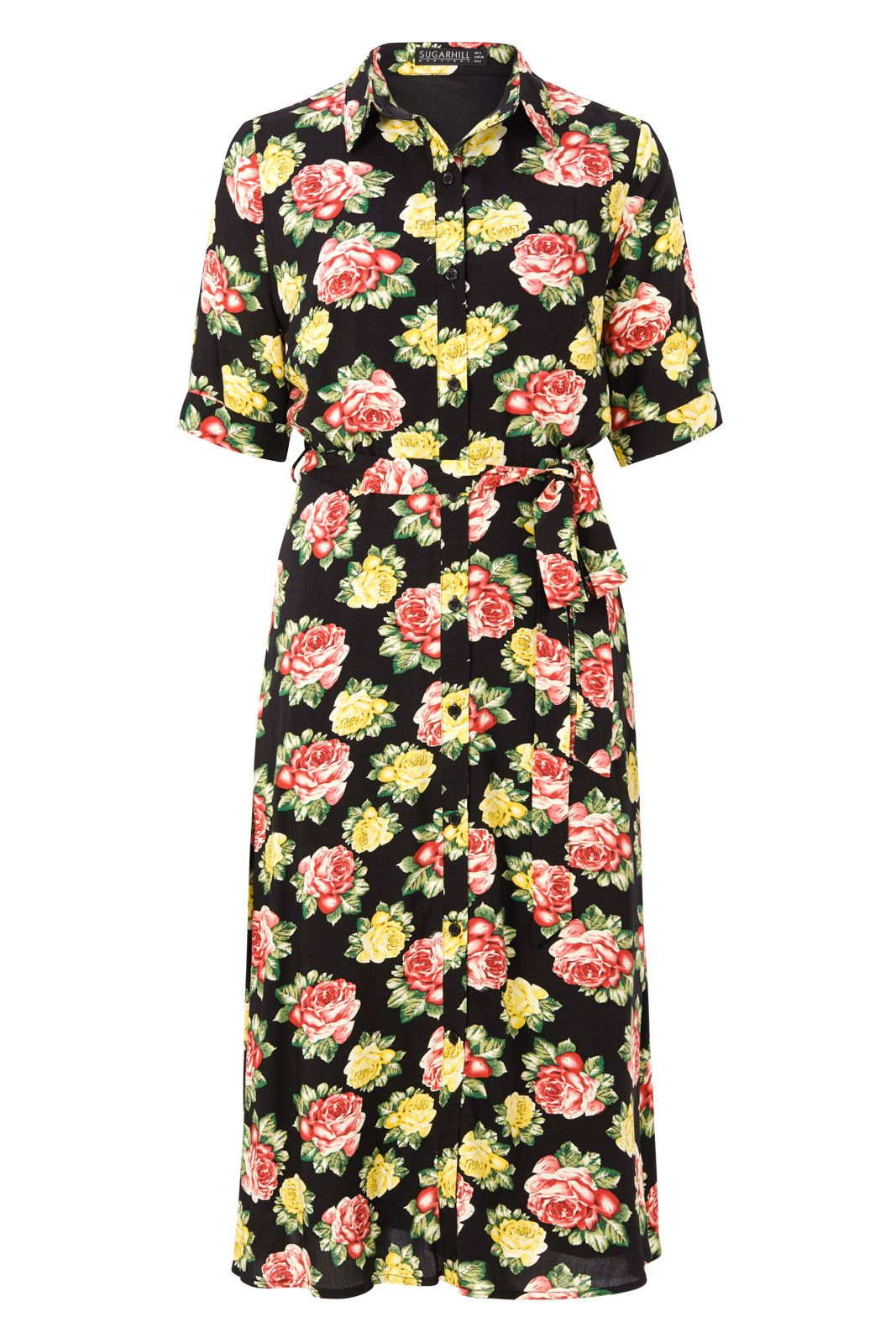 Sugarhill Boutique Faye Floral Midi Shirt Dress, Black Multi