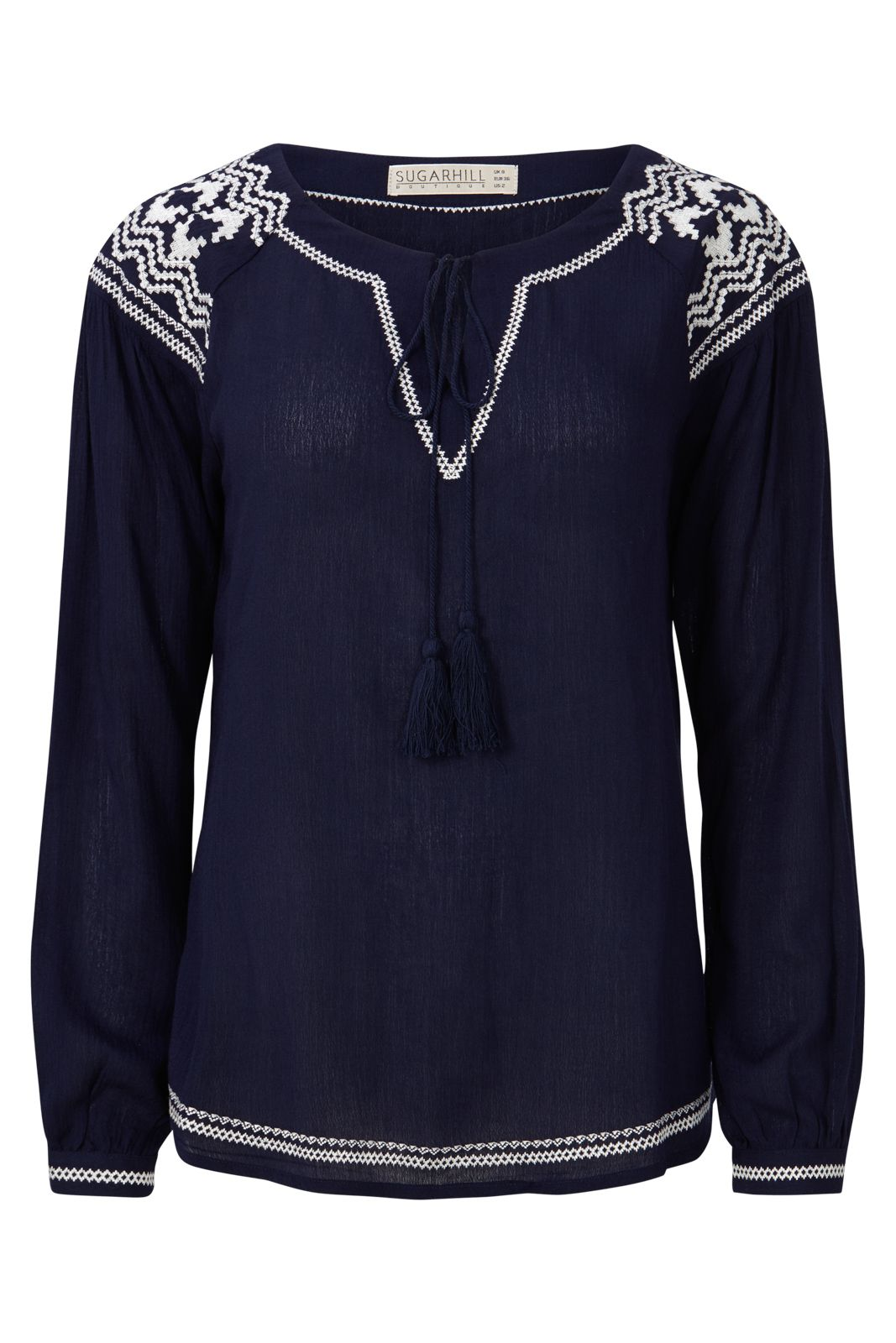 Sugarhill Boutique Windmill Embroidered Boho Top, Blue
