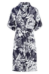 Sugarhill Boutique Laria Roll Sleeve Palm Print Shirt Dress