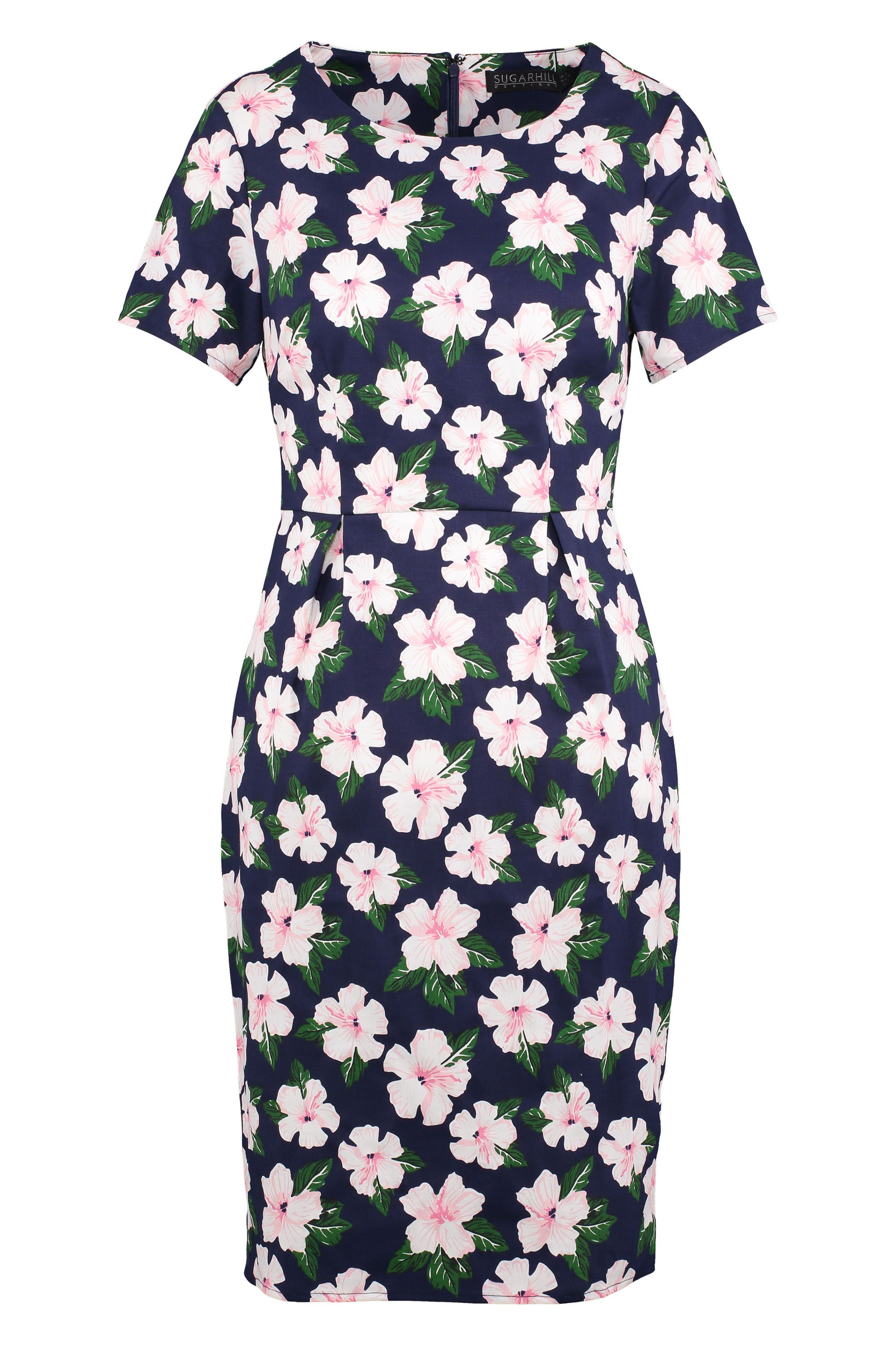 Sugarhill Boutique Bloom Floral Knee Length Dress, Blue