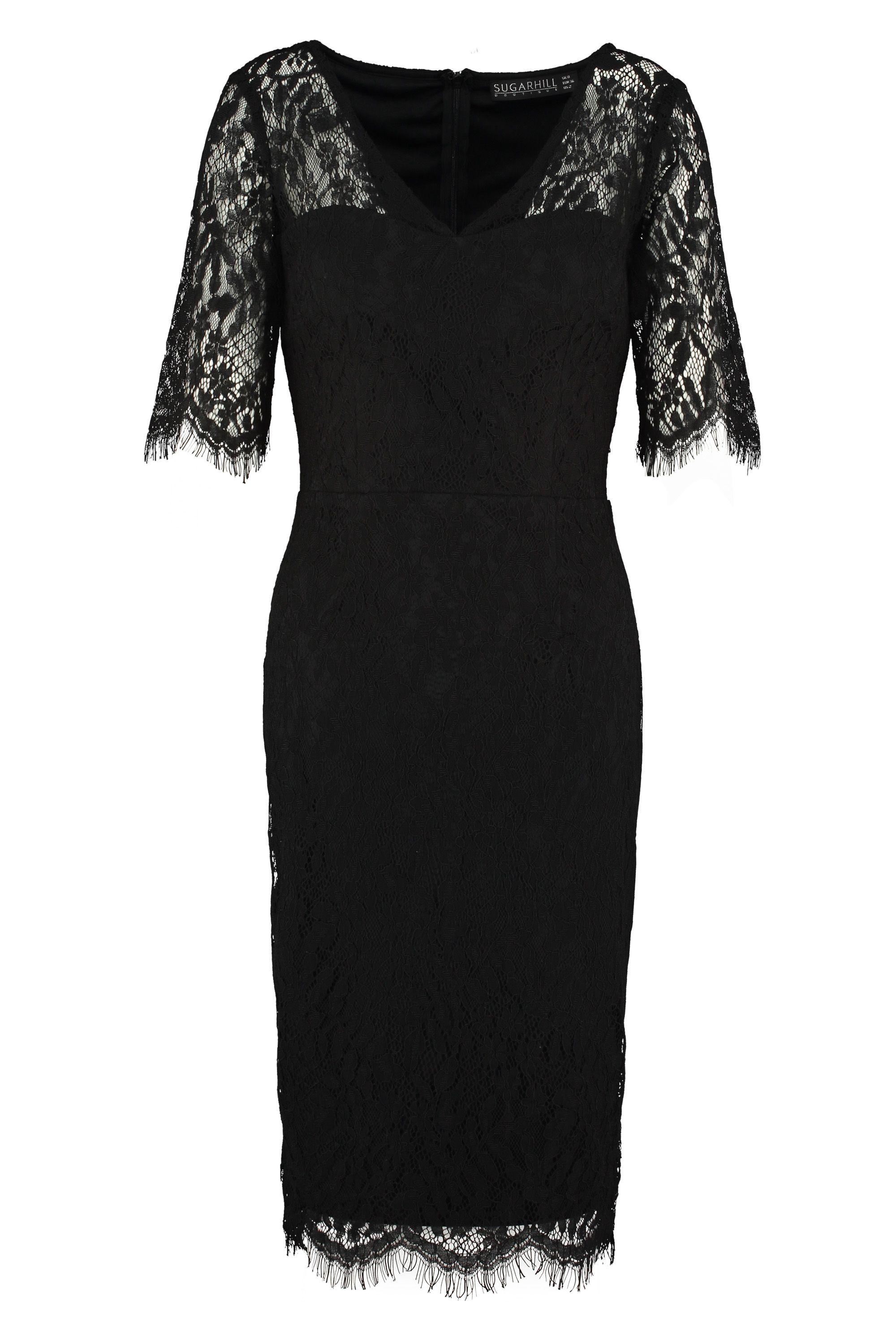 Sugarhill Boutique Kim Lace Dress, Jet Black