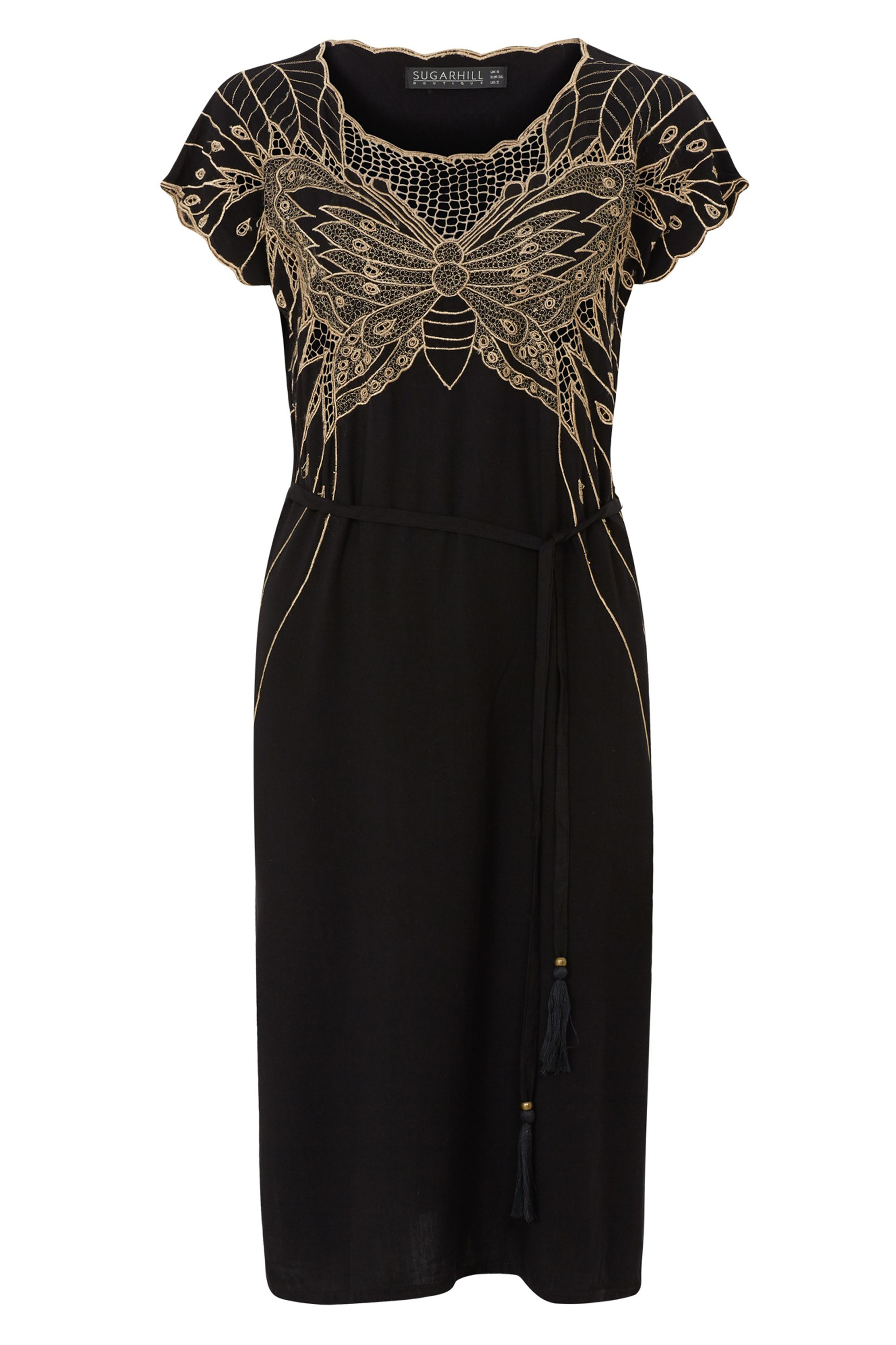 Sugarhill Boutique Butterfly Embroidered Dress, Black