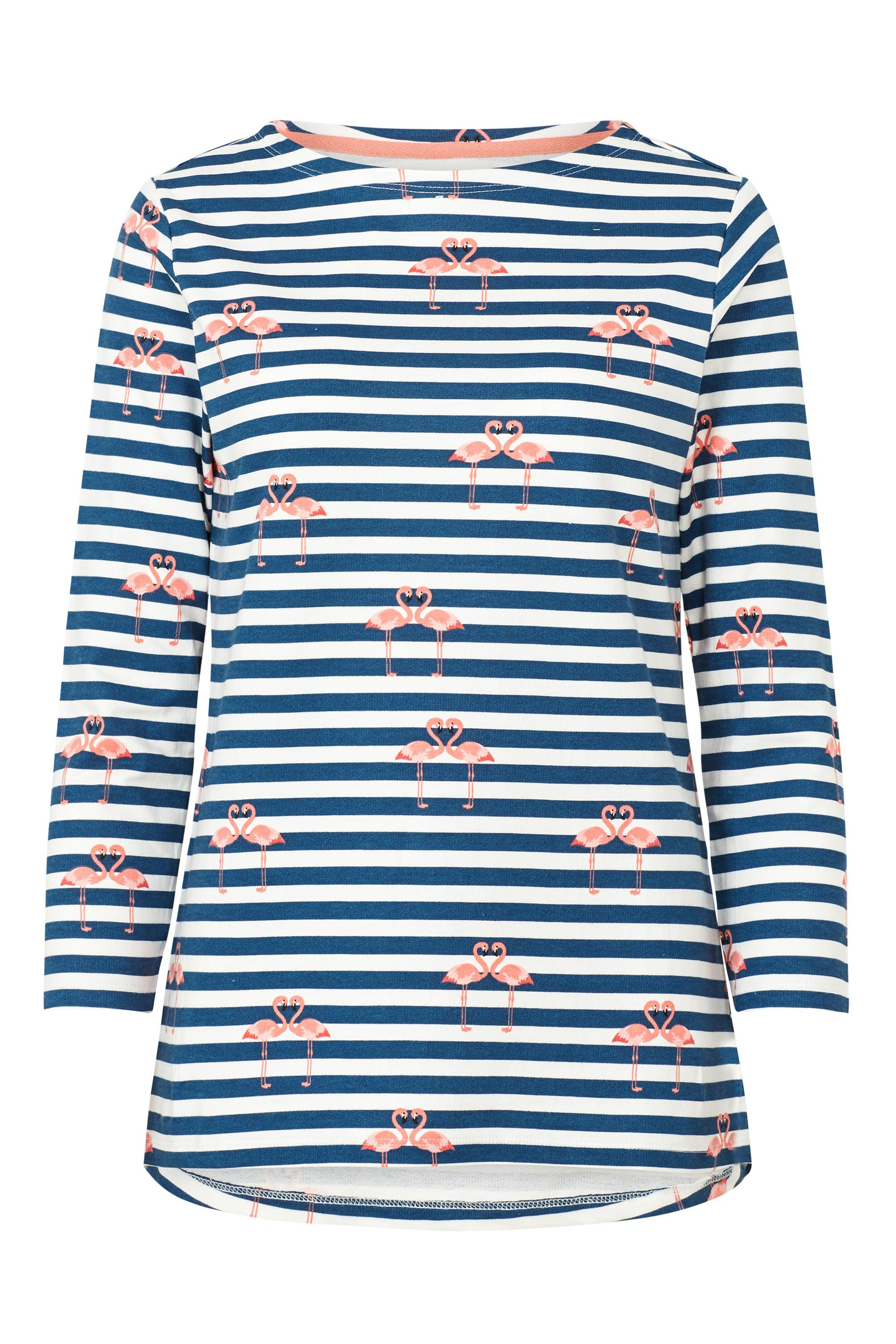 Sugarhill Boutique Brighton Flamingo Stripe Top, White