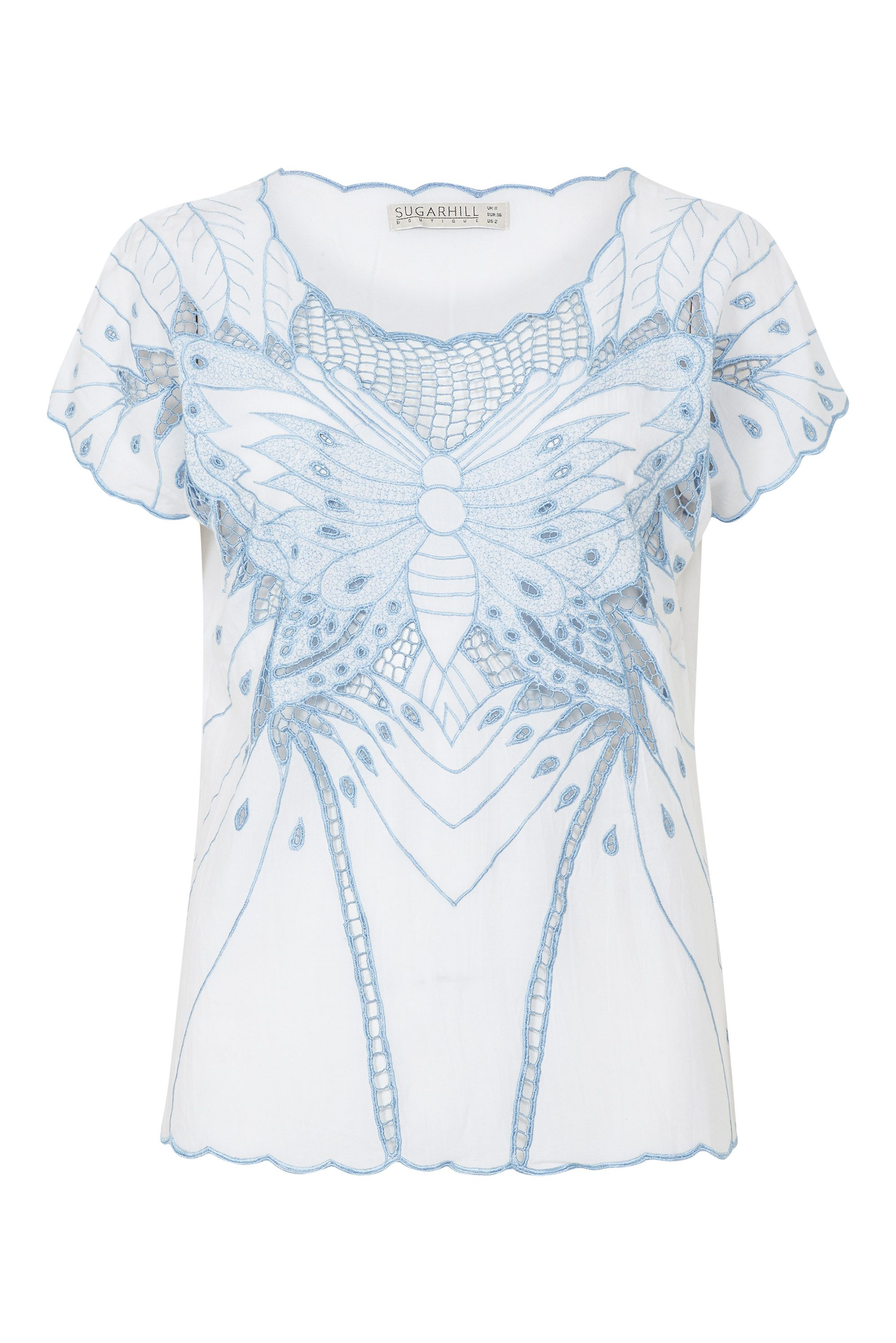 Sugarhill Boutique Butterfly Cutwork Top, White