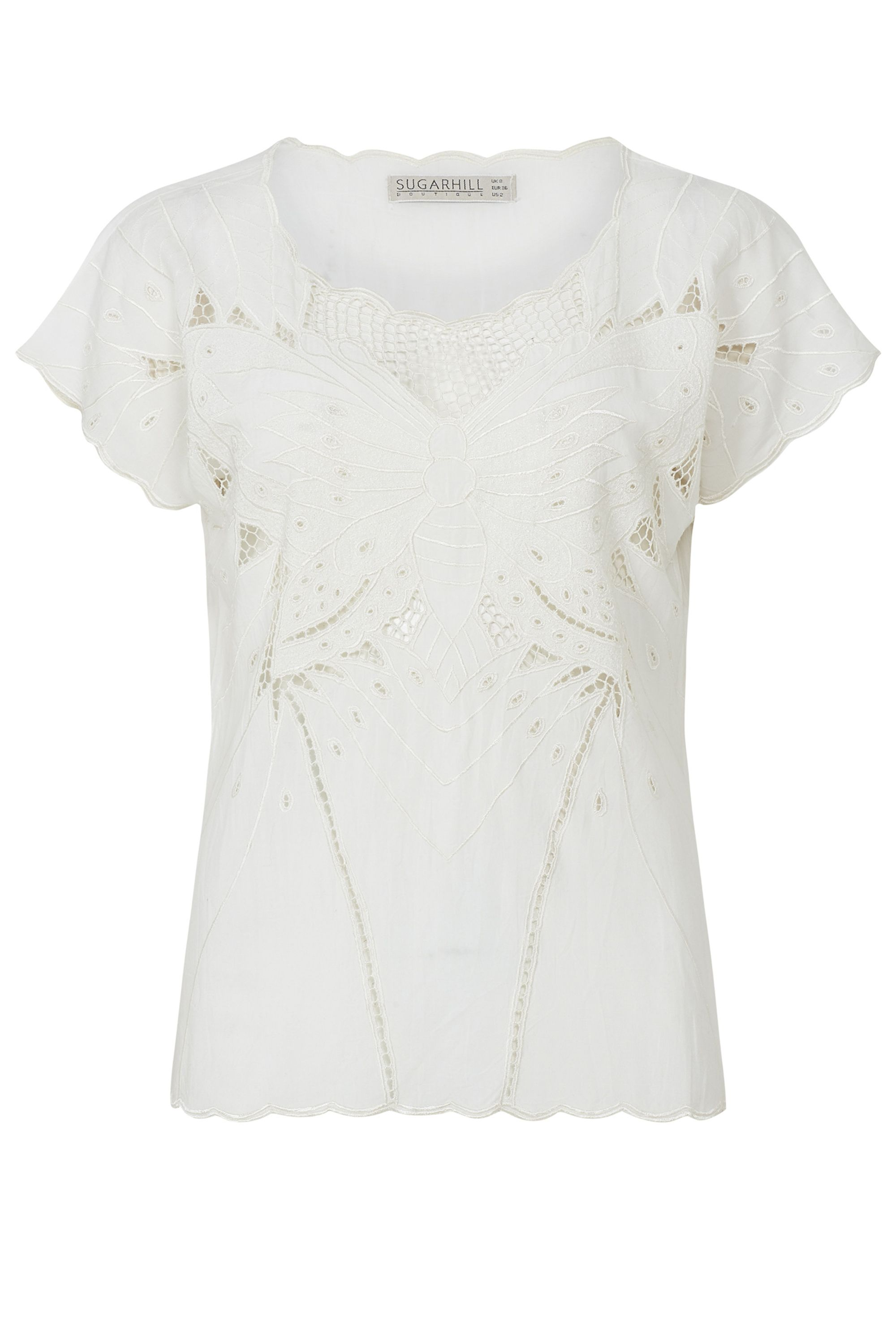 Sugarhill Boutique Butterfly Embroidered Top, Cream