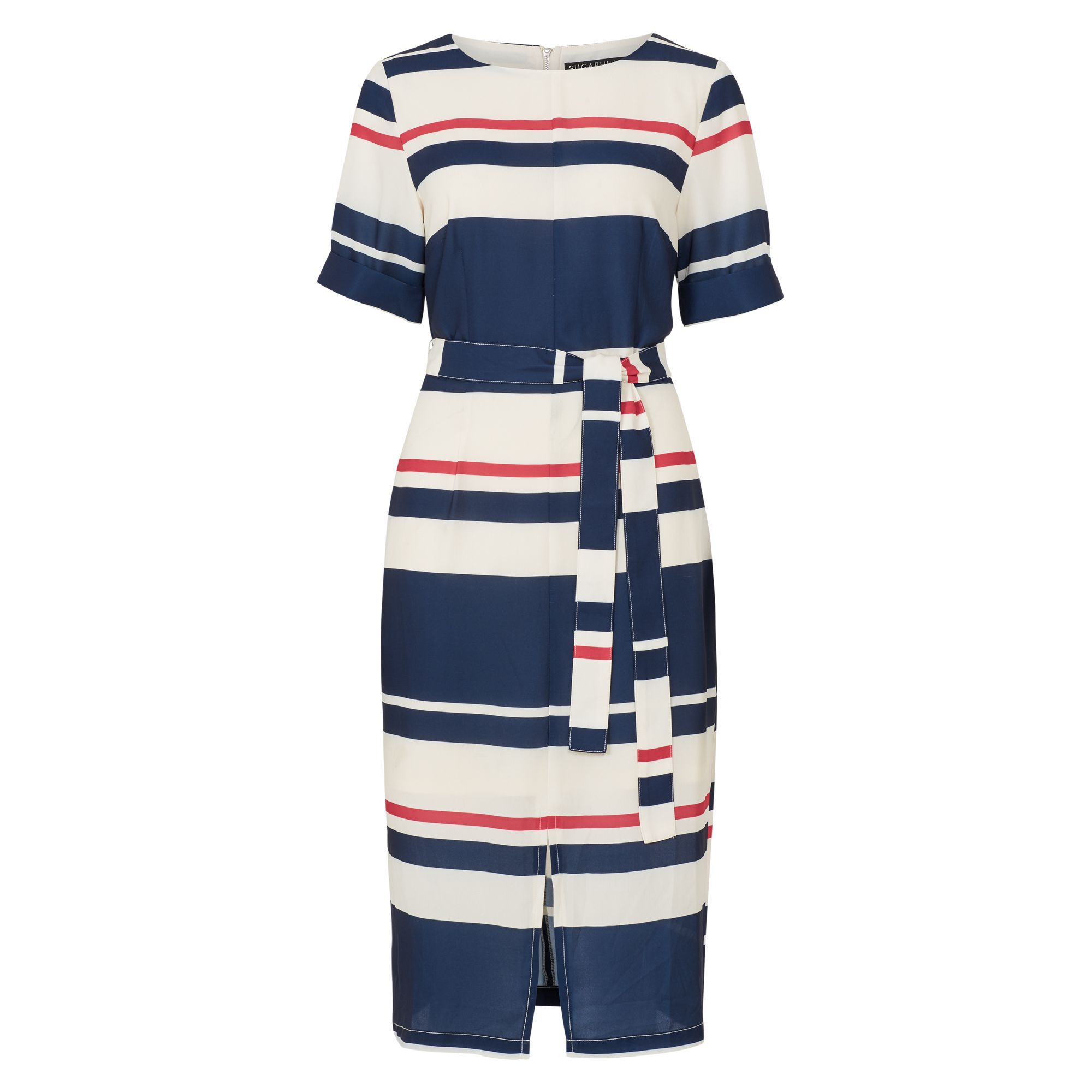 Sugarhill Boutique Heidi Stripe Belted Midi Dress, Cream