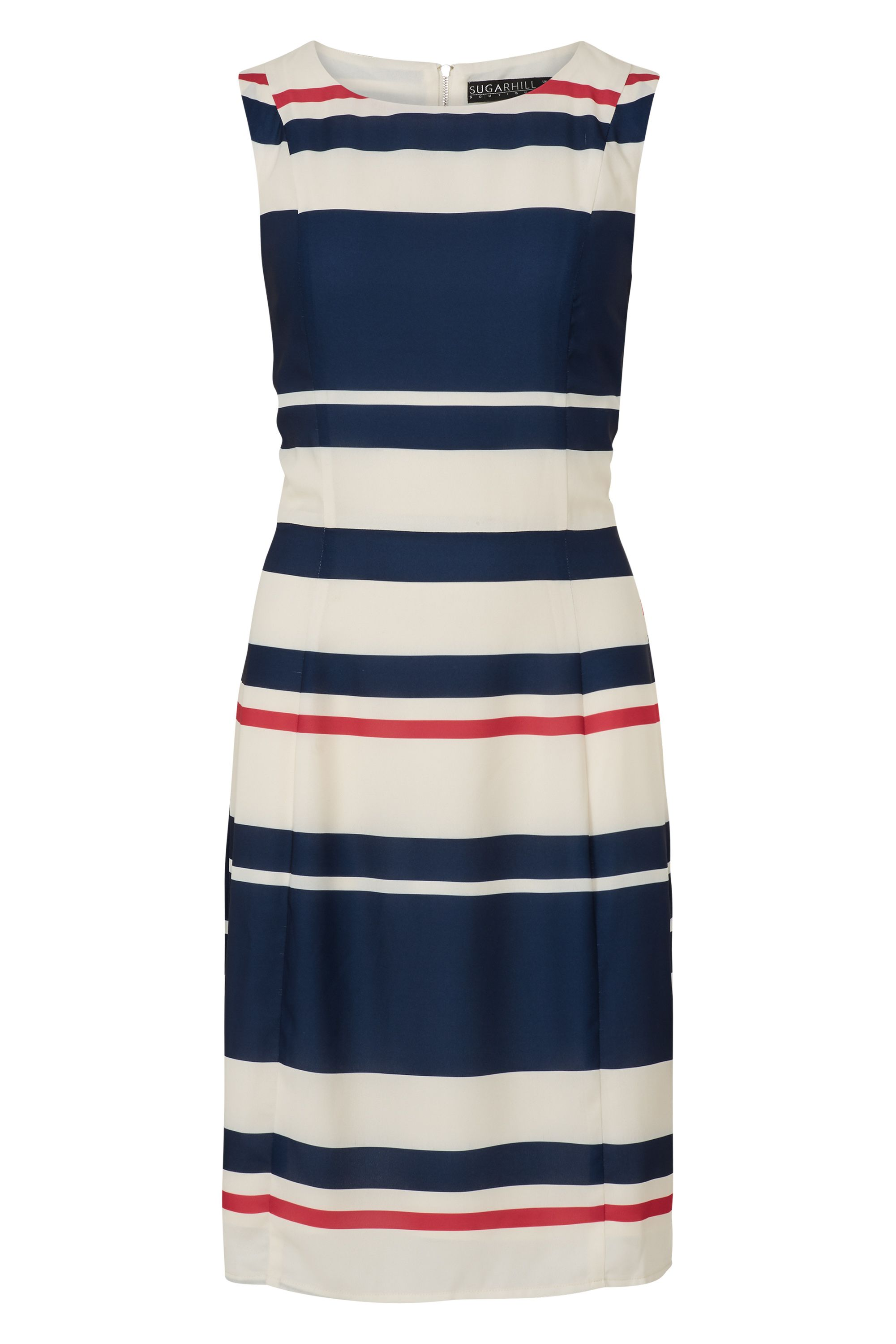 Sugarhill Boutique Eliza Stripe Shift Dress, Cream