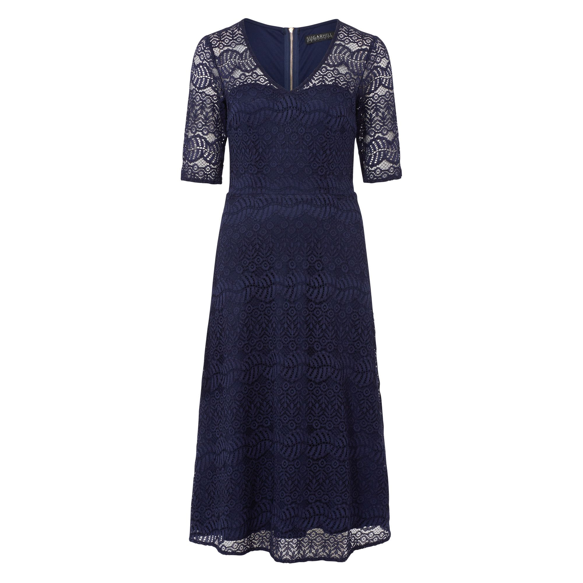 Sugarhill Boutique Imelda Navy Lace Dress, Blue