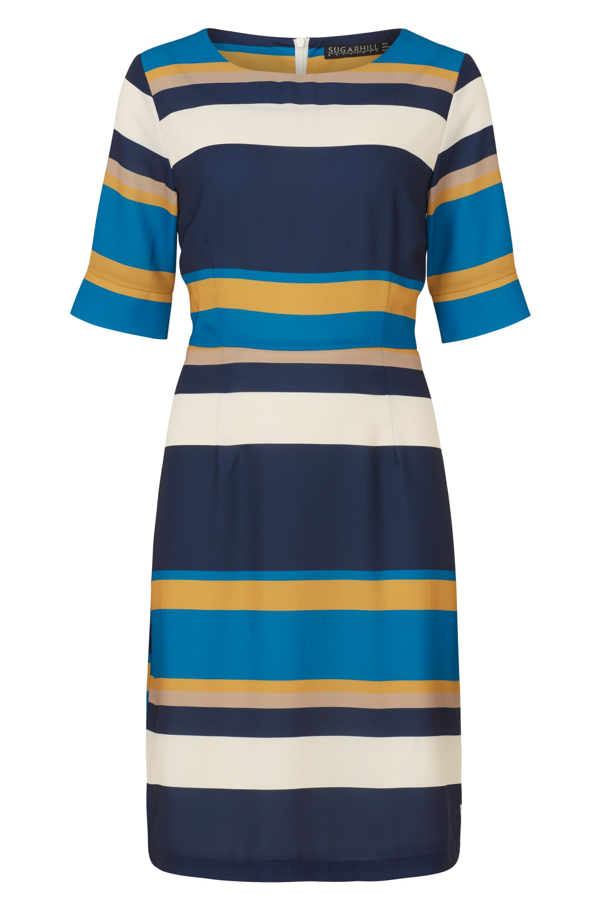 Sugarhill Boutique Harper Autumn Stripe Shift Dress, Multi-Coloured