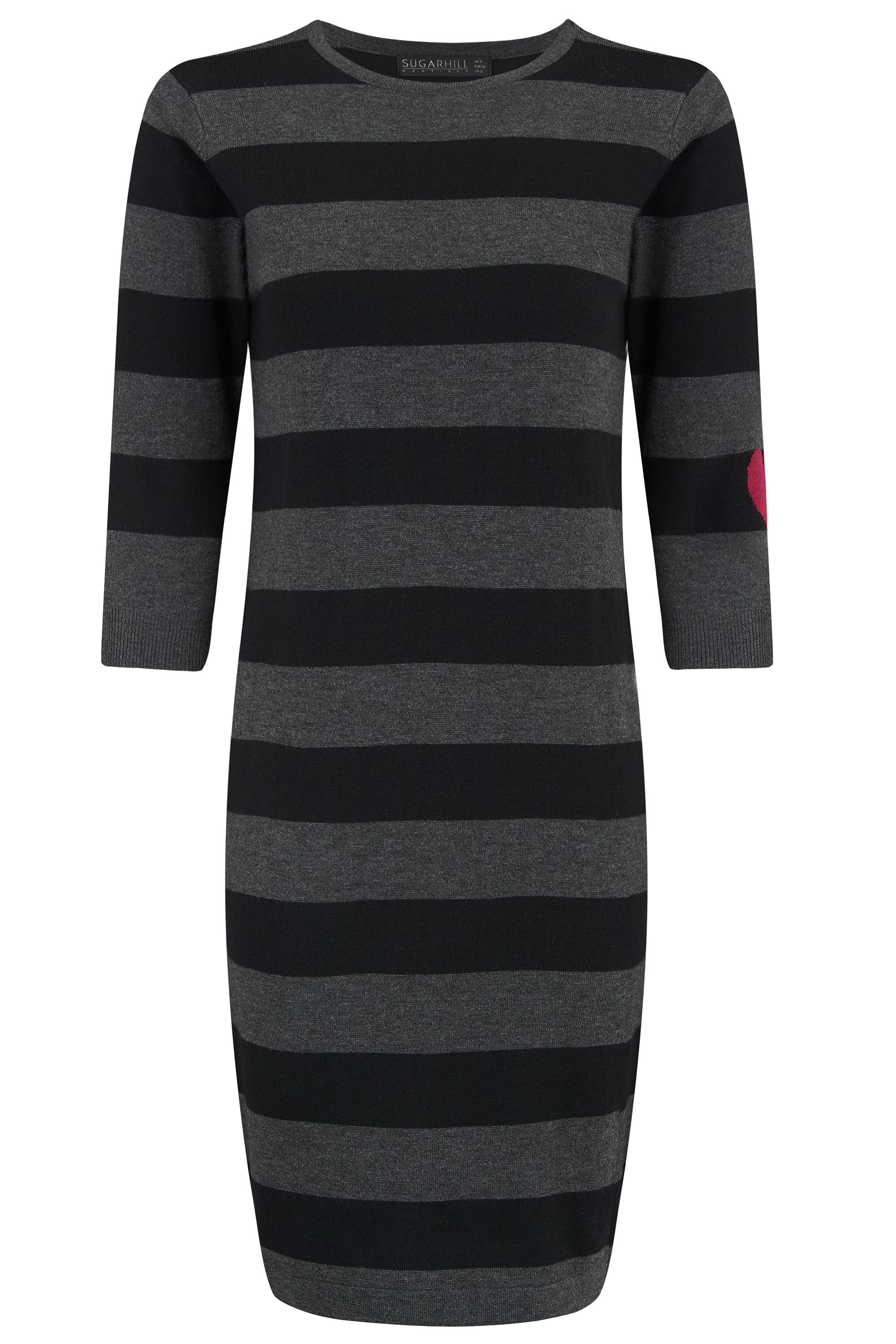 Sugarhill Boutique Stripe Knit Dress With Heart, Black