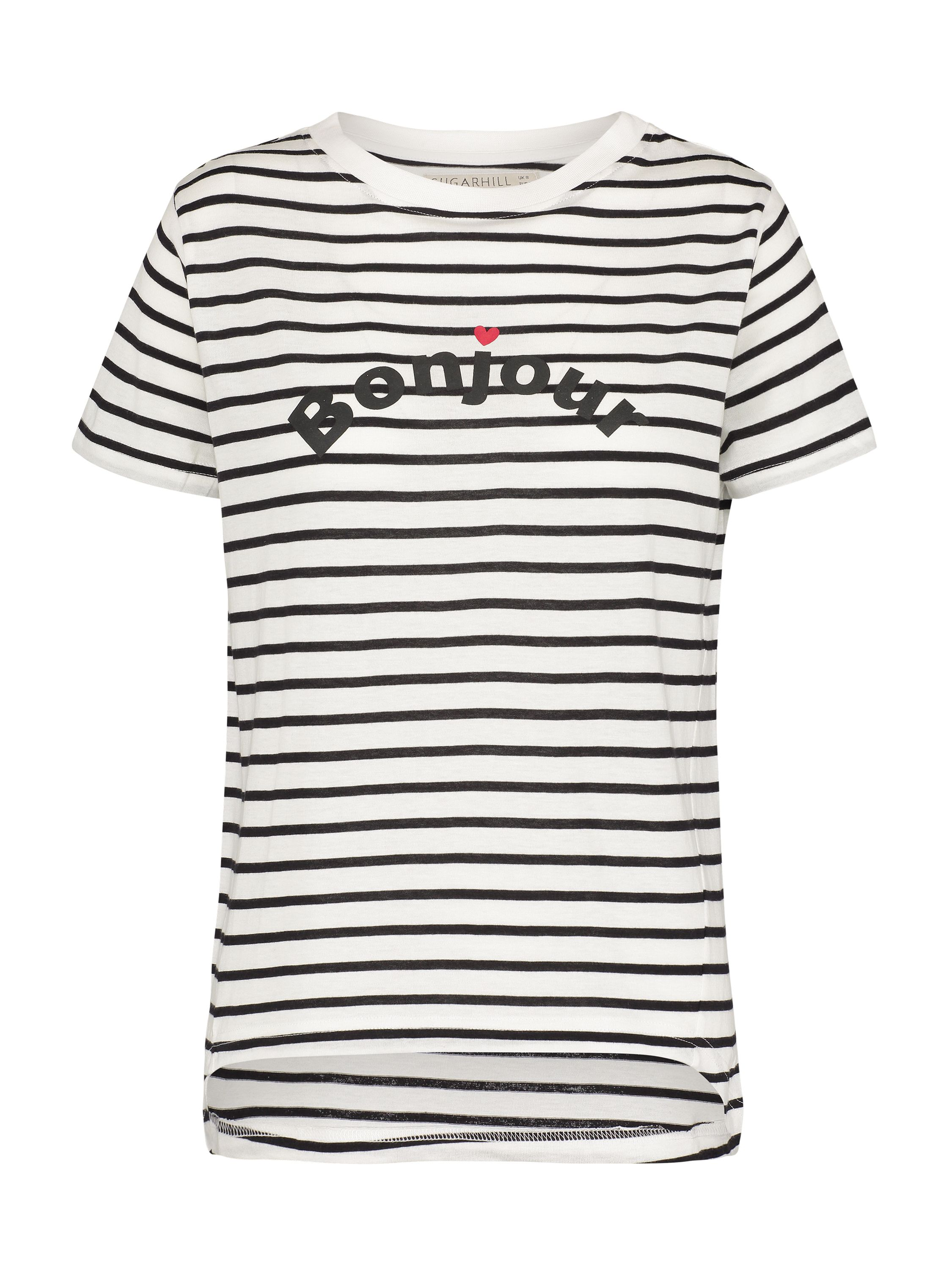 Sugarhill Boutique Mimi Bonjour T-Shirt, Black/White