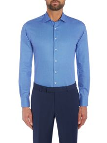 Simon Carter Long Sleeve Slim Fit Blue Texture Shirt