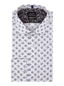 Simon Carter Long Sleeve Slim Fit Origami Bird Print Shirt