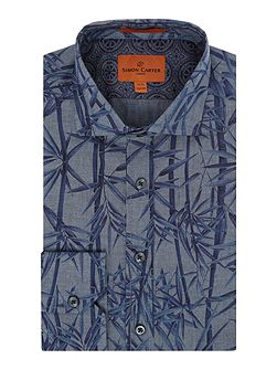 Chambray Bamboo Print Harrison Shirt