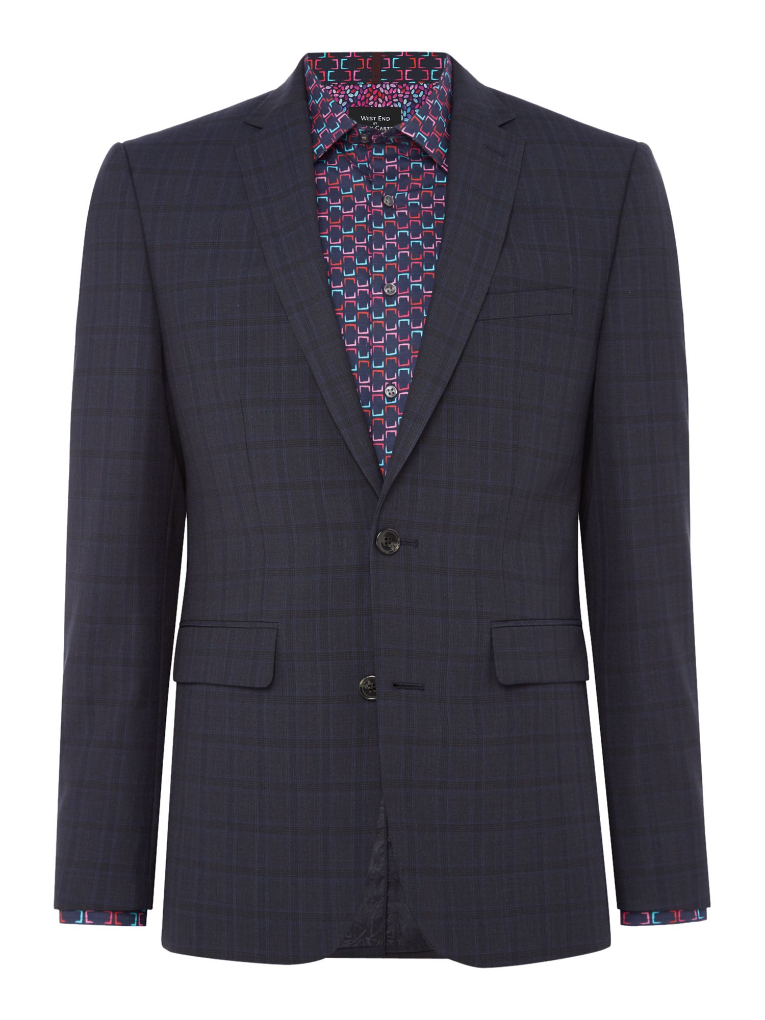 Men's Simon Carter Highlight Check Suit, Charcoal