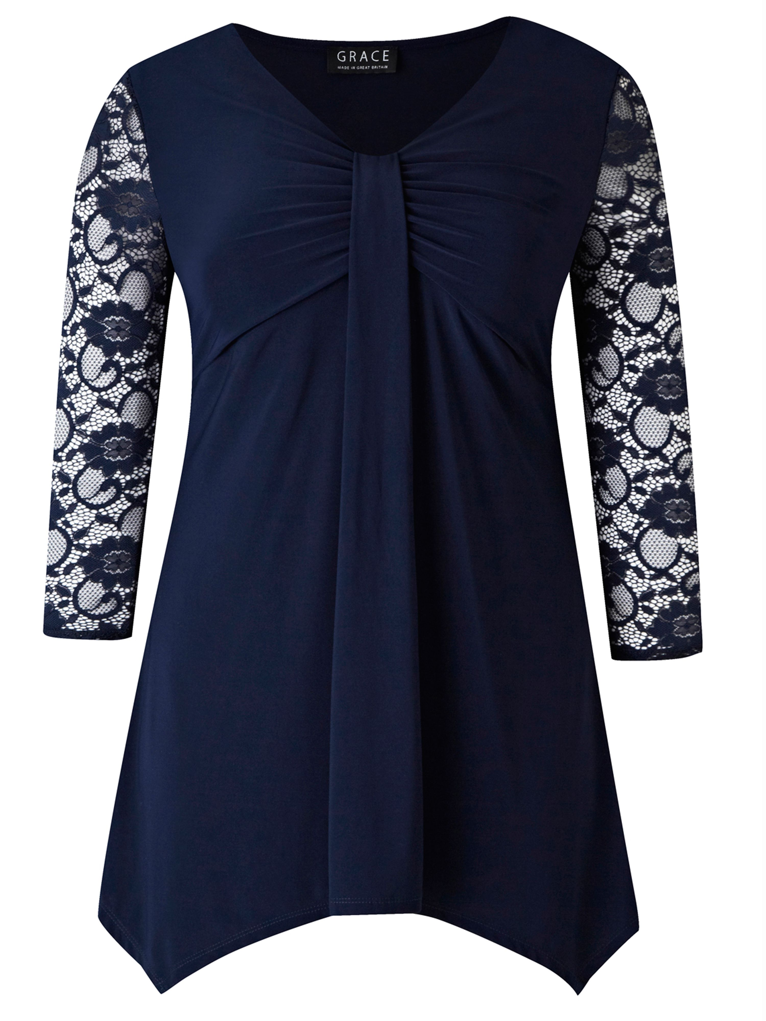 Grace Made In Britain Lace Tunic Top, Navy