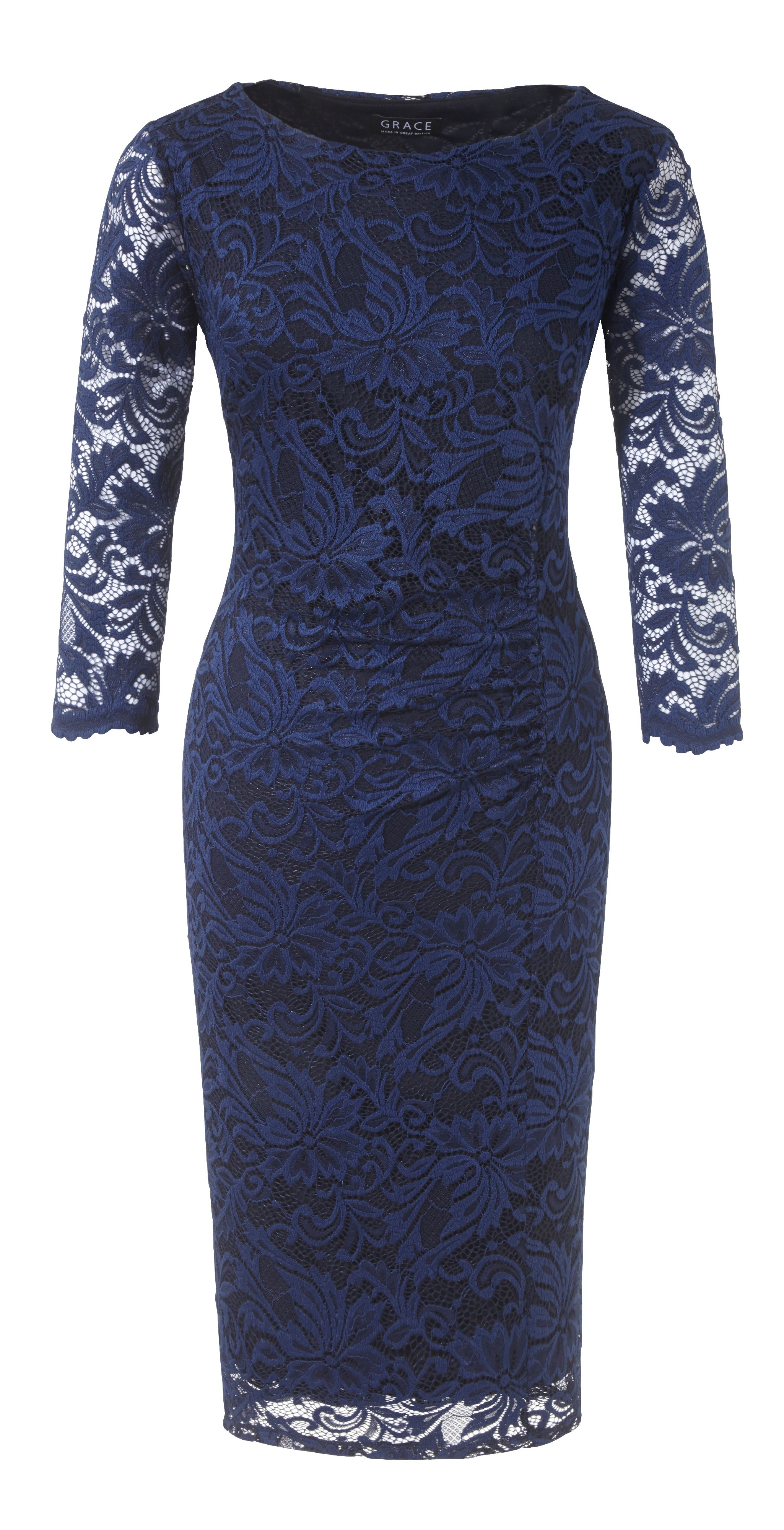 Grace Grace Grace Made in Britain lace dress, Navy