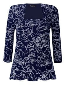 Grace Grace Made in Britain floral print top