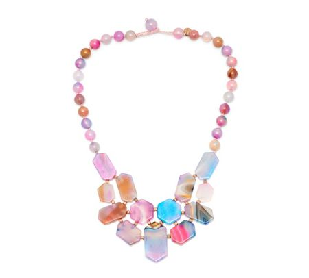 Lola Rose Zardosi Bib Necklace Candy Stripe Agate