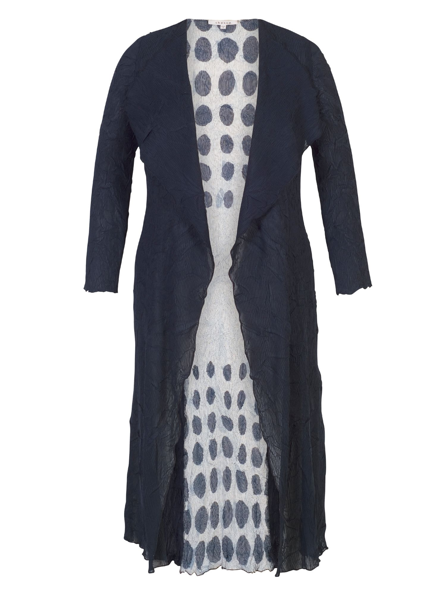 Chesca Spot Trim Crush Pleat Coat, Blue