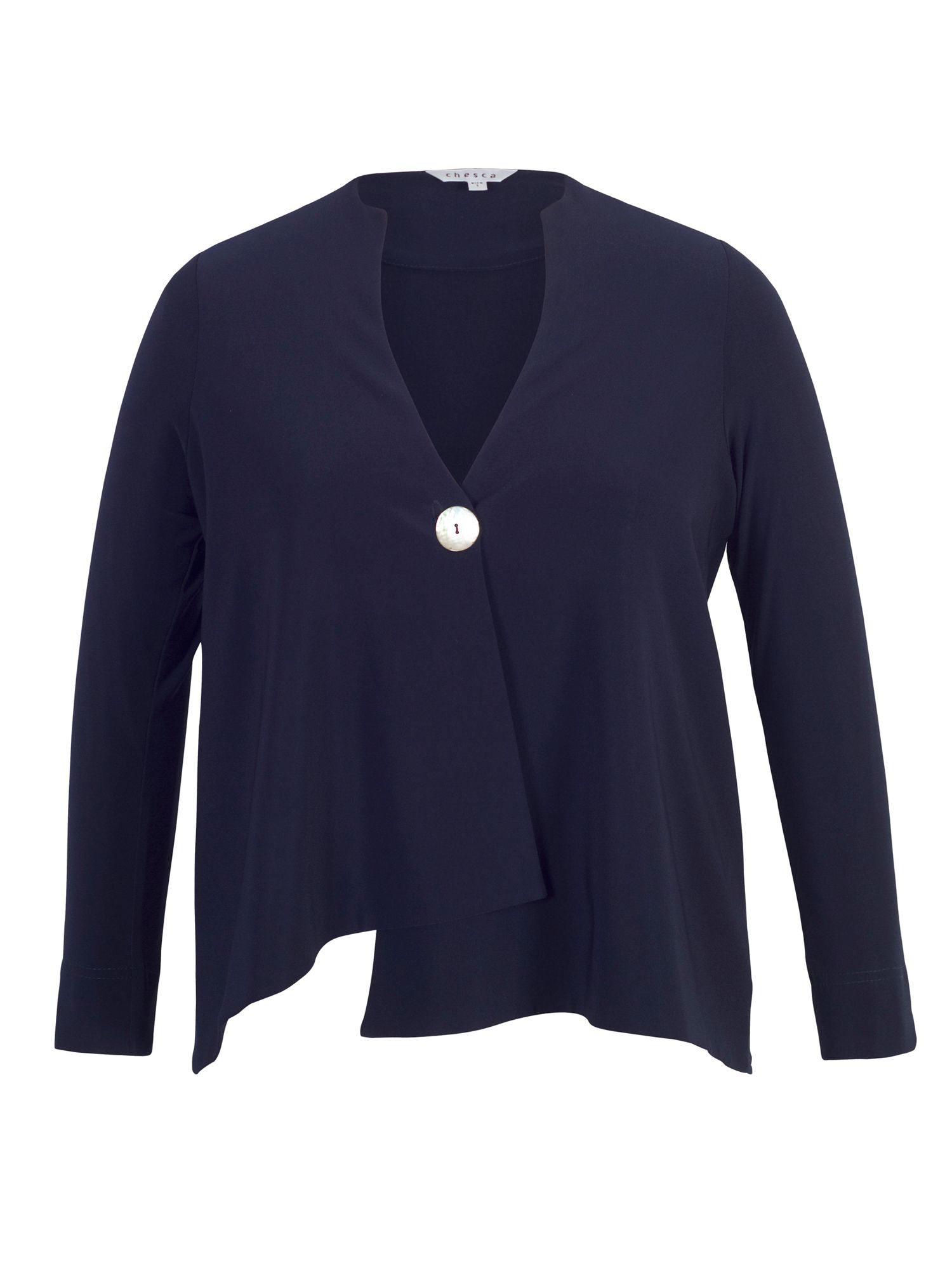 Chesca Asymmetric Jersey Jacket, Blue
