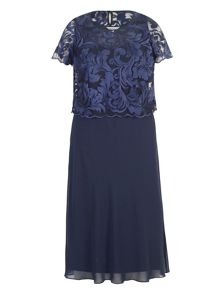 Chesca Embroidered Mesh and Chiffon Dress