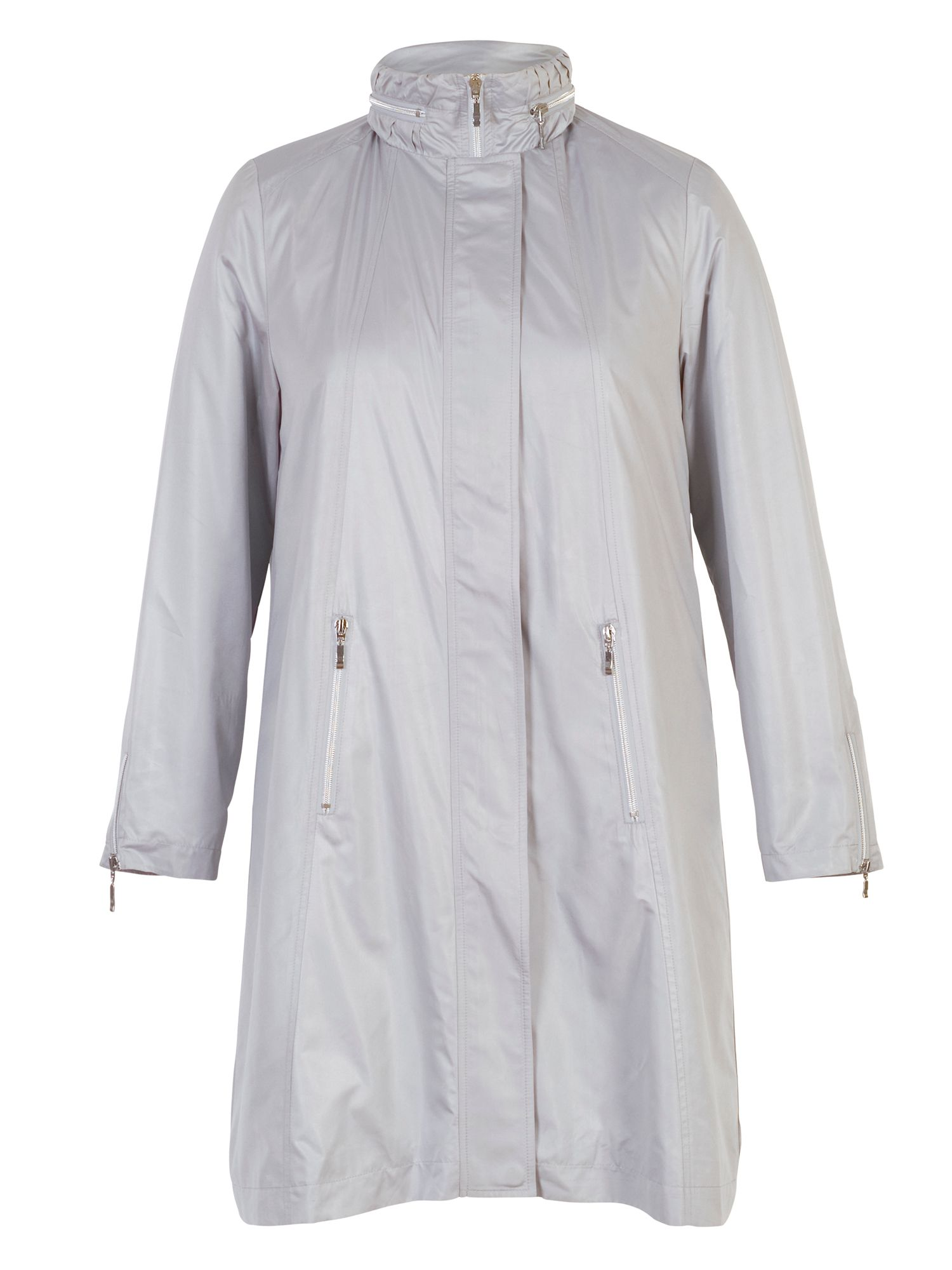 Chesca Pearlised Raincoat with Ruched Collar, Silver