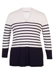 Chesca Stripe V-Neck Jumper