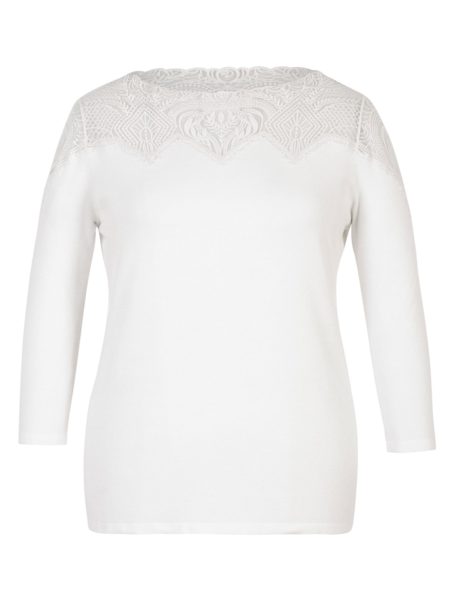 Chesca Embroidered Yoke Jumper Ivory