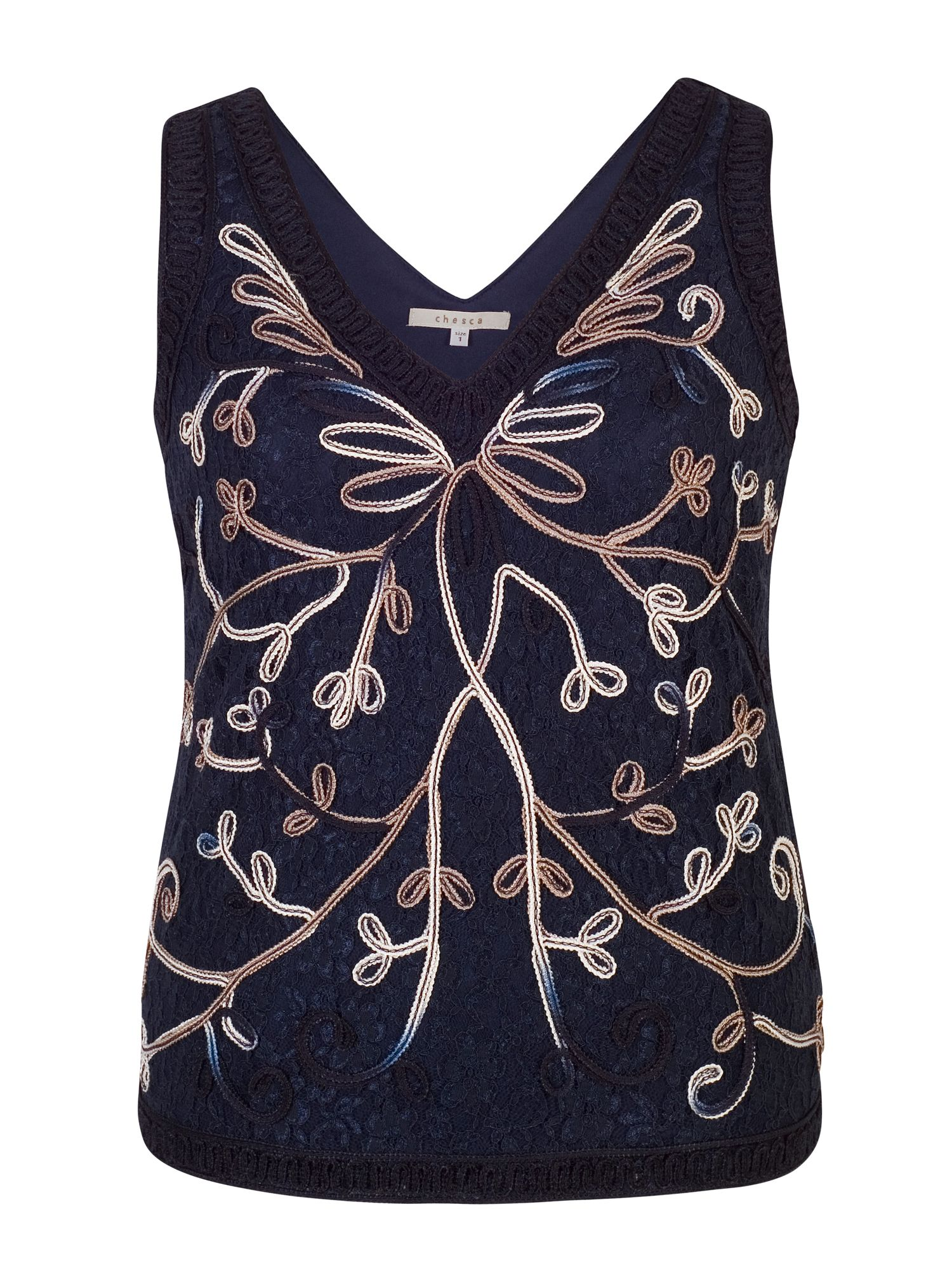 Chesca Ombre Cornelli Embroidered Lace Camisole, Blue