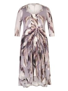Chesca Feather Print Jersey Dress