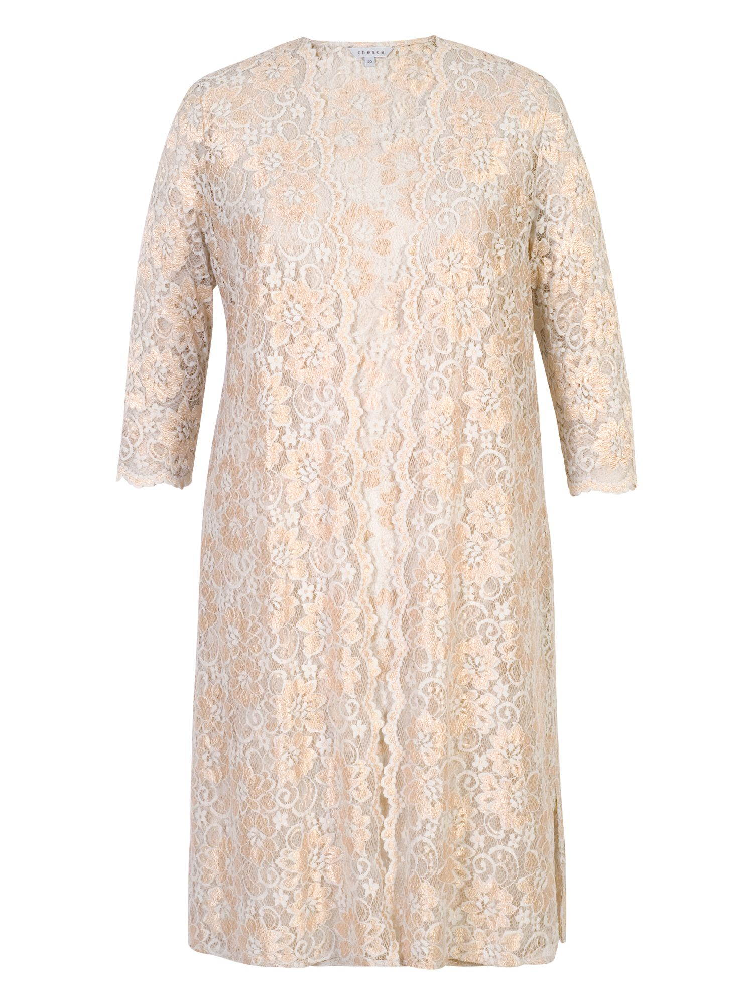 Chesca 2-Tone Scallop Lace Coat, Gold