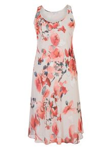 Chesca Floral Print Chiffon Dress