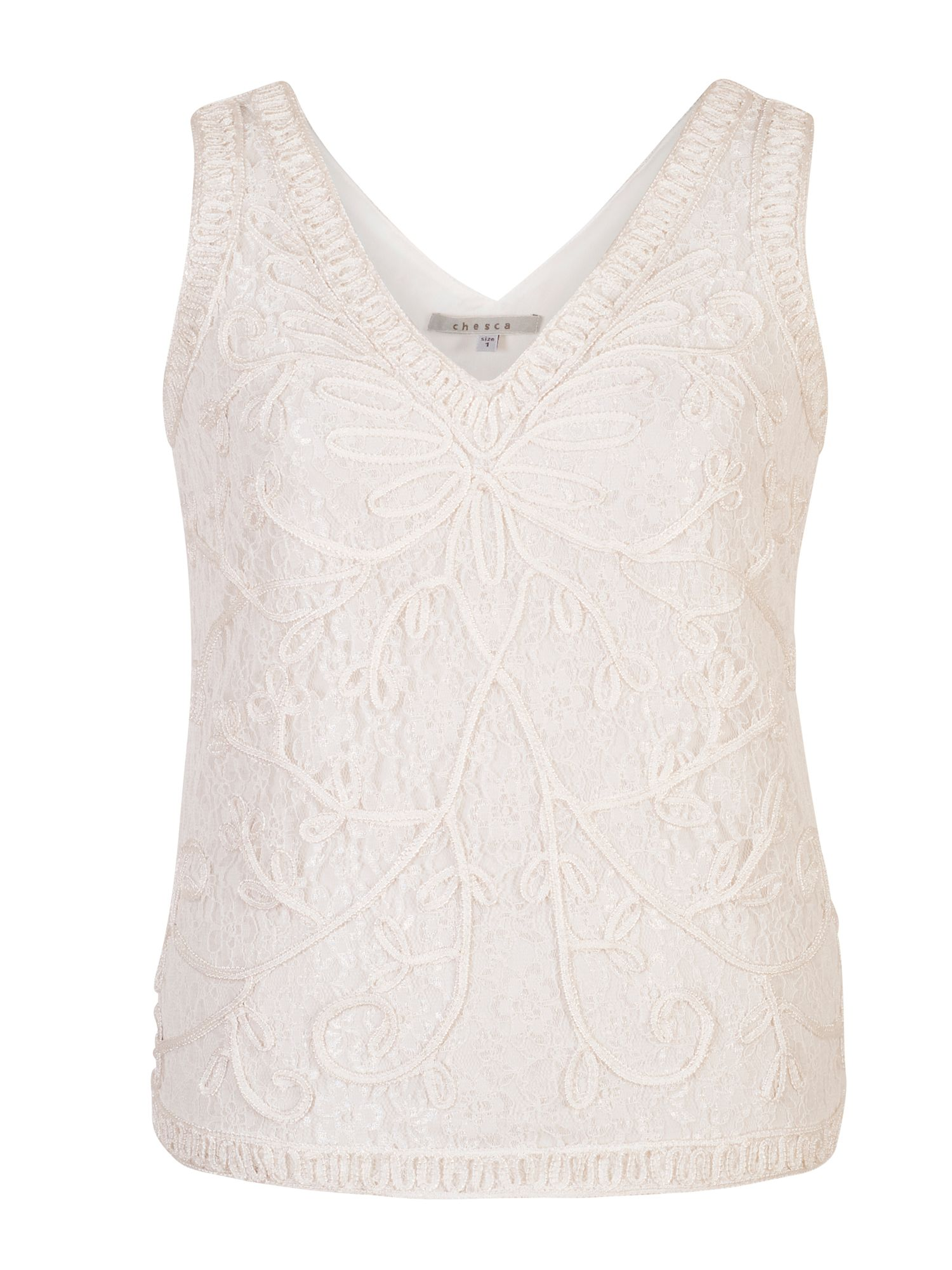 Chesca Cornelli Embroidered Lace Camisole, White
