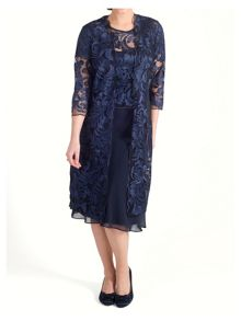 Chesca Scallop Edged Embroidered Mesh Coat