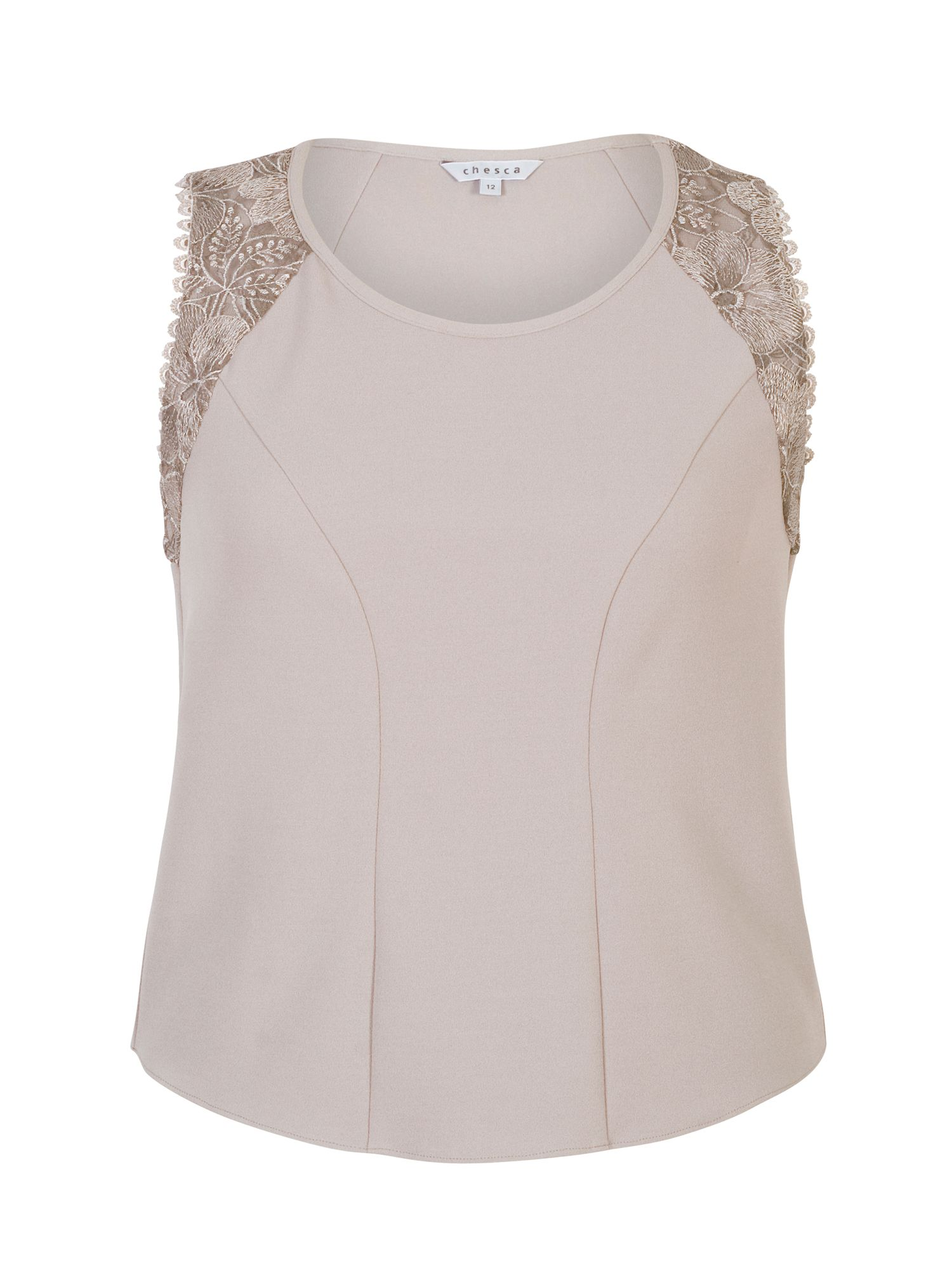 Chesca Crepe Jersey Camisole with Lace Trim, Mink