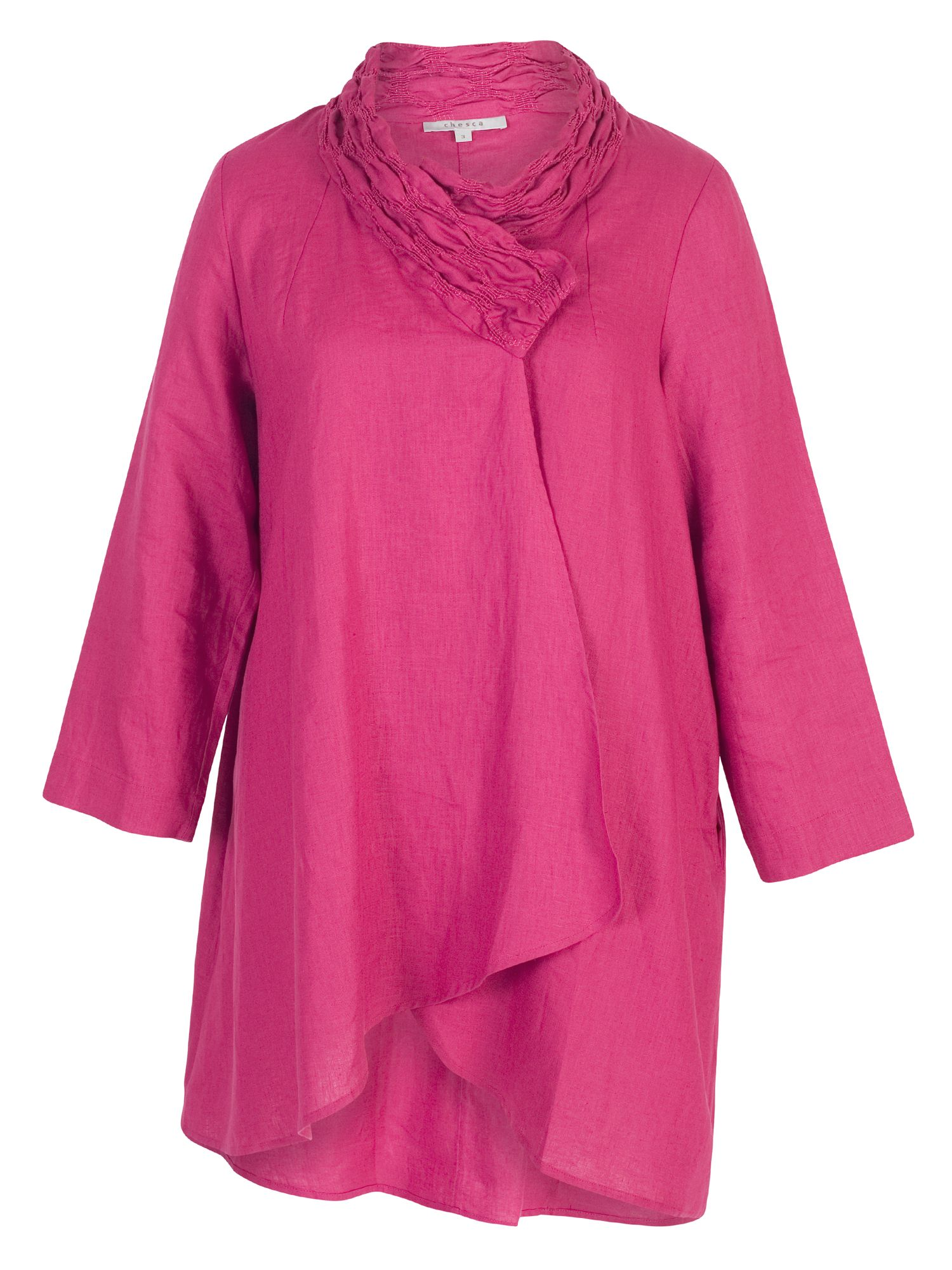 Chesca Embroidered Collar Linen Coat, Raspberry