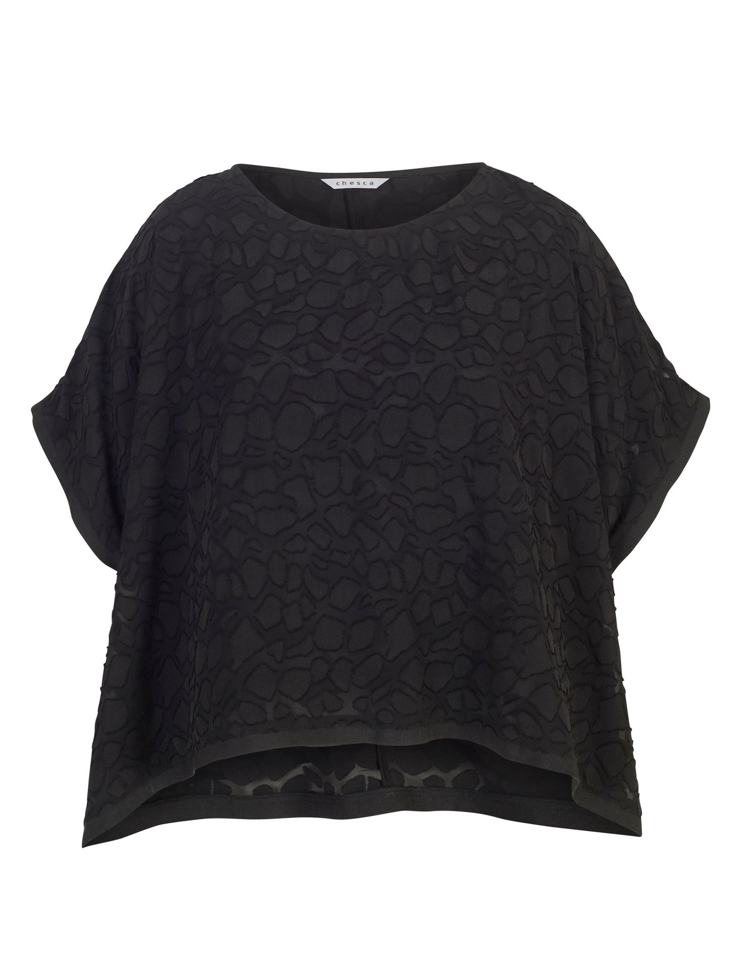 Chesca Pebble Burnout Top, Black
